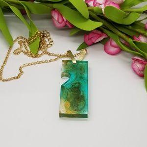 Jewelry - *Price Drop* Jade & Gold 1/2 Heart Resin Pendant